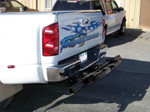 wheel lift installed on a Ram 3500 dually